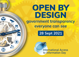 Promotional image for IAI Day 2021 with text Open by design - government transparency everyone can see